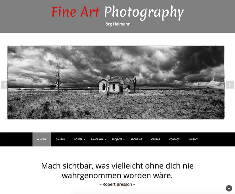 Webdesign Homepage Fineart Photography Startseite