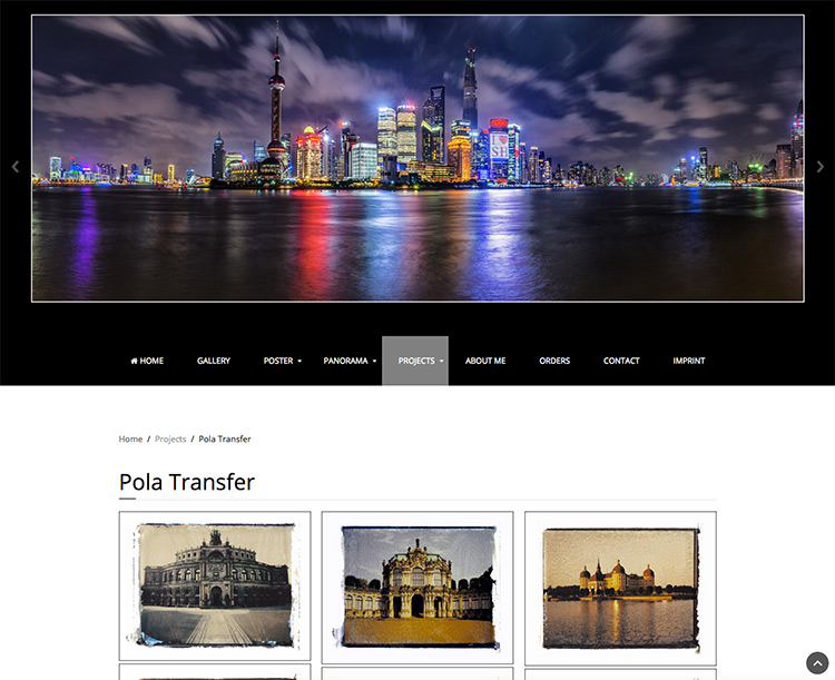 Webdesign Homepage Fineart Photography Pola Transfer